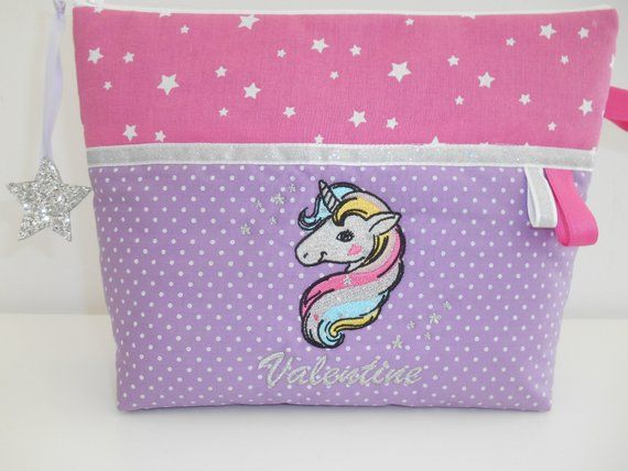 Trousse De Toilette Enfant Ou Bebe Ou Ado Licorne Unicorn Brodes Personnalisee Brodee Toiletry Bag Personalized Embroidered Pink Polka Dots