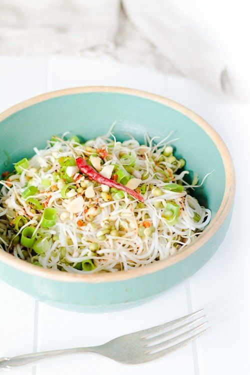 Noodles with Sprouted Beans and Curry Lime Dressing | a Couple Cooks