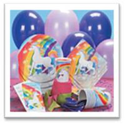 Save yourself time and money with a Unicorn Party Pack - tableware, decorations and party bags for 16 kids.