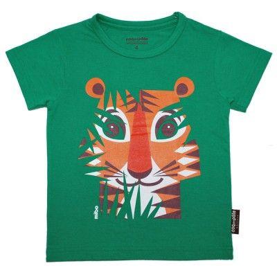 T-shirt enfant en coton bio avec motif tigre de l'illustratrice Mibo # t-shirt # enfant #animaux http://www.coqenpate.com/manches-courtes/245-tee-shirt-manches-courtes-mibo-tigre.html