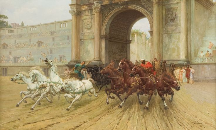 Ettore Forti (Rome, died 1897), Racing horses entering the Circo Massimo, oil on canvas. The subject, set in ancient Rome, depicts the triumphal moment of the entrance in the Circo Massimo in Rome of a chariot. According to the contemporary fashion of the so-called Pompeian style, Forti represents the architecture with meticulous attention and photographic realism.