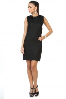 Embroidered Black Linen Dress  Rs. 2,445