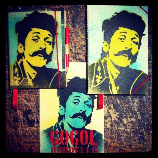 Sample notebooks and postcard for Gogol Bordello
