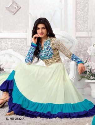 Kriti Senon New White Designer Anarkali Suits By Thankar Anarkali Suits