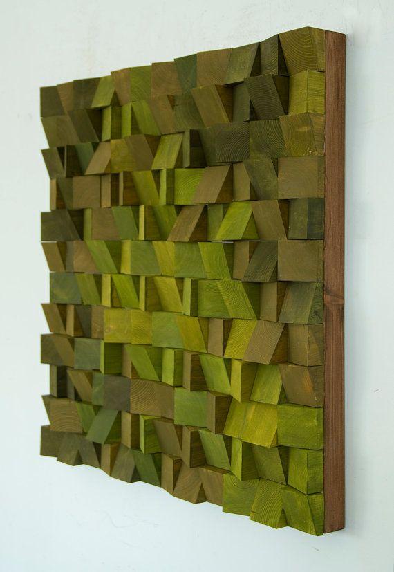 Holz-Wand-Kunst einfarbig Holzkunst in den Blues neue