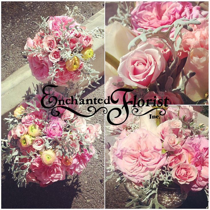 Pale pink and gray bouquets from Enchanted Florist Las Vegas www.efilasvegas.com