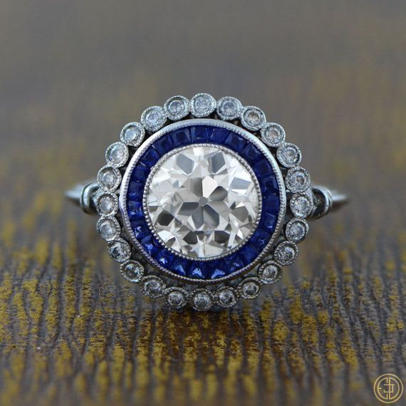 1.88CT Art Deco Style Diamond and Sapphire Engagement Ring - Sapphire and Diamond Halo. Platinum Triple Wire Setting. French cut sapphires.