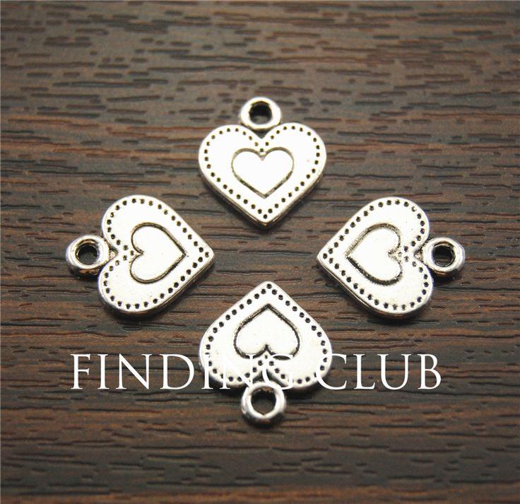 El Envío Gratuito! 50 unids Antique metal encantos de plata corazones colgantes de la joyería de diy joyas collar pulsera A1185