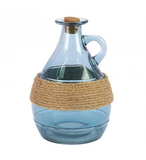 GLASS BOTTLE_VASE IN GREEN COLOR W_ROPE 11X11X16
