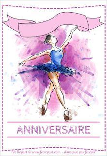 Carte d'invitation anniversaire ballerine à télécharger pour les petites danseuses