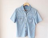Denim Womens Shirt -Short Sleeved -Medium -VintageWoman Shirt