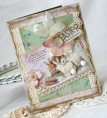 Precious Easter card by Beatriz Jennings. Don't you love the pom poms on the bunny's tails!