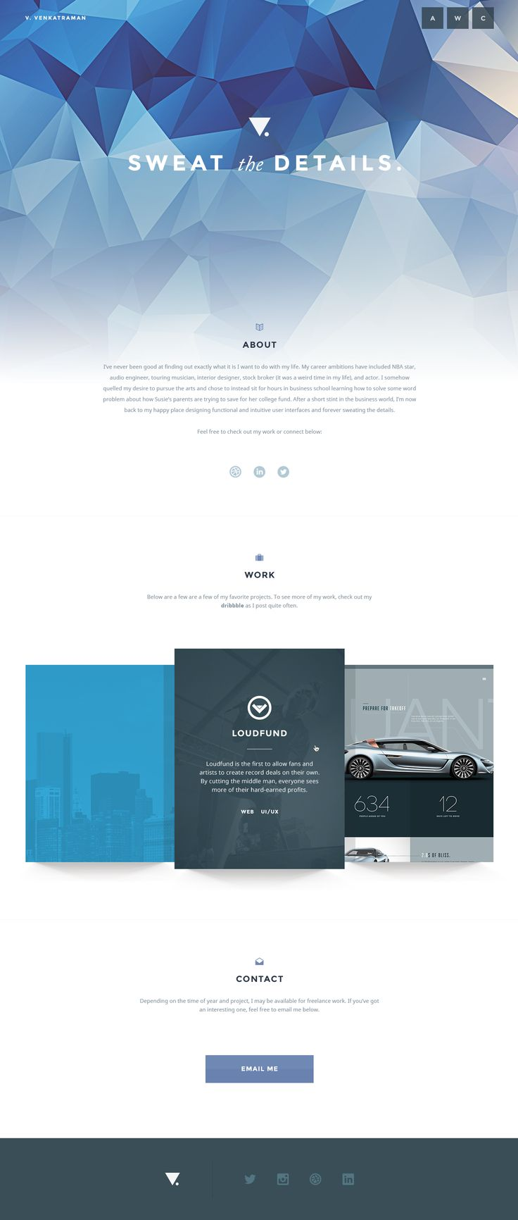 Simple One Page personal website design