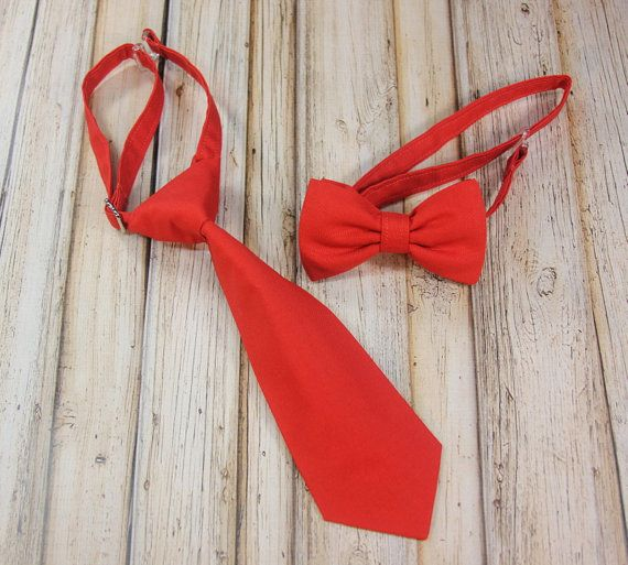 Tomato Red Orange Persimmon Neck Tie or Bow Tie Close Match to Davids Bridal Persimmon Wedding (BowTie) for Baby, Toddlers, Youth, Boys, Men