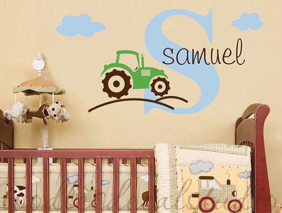 Tractor Farm Truck Boys Initial Name by ToodlesDecalStudio on Etsy, $32.50