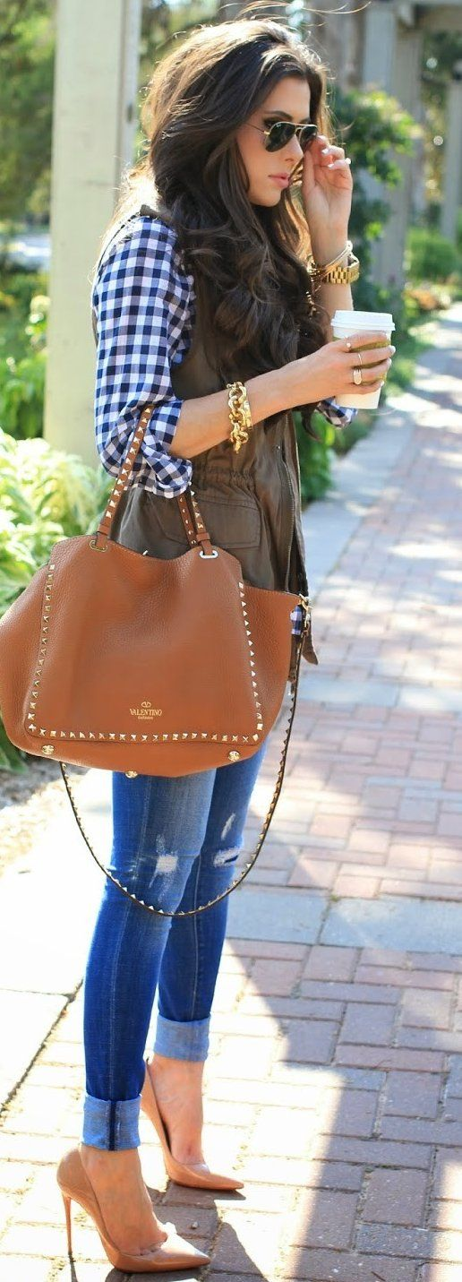 #fall #trends | Utility Vest + Gingham Top + Jeans