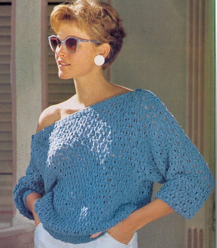 80S SUMMER OFF THE SHOULDER LACY TOP WOMENS SIZE 80-115CM 12PLY KNITTING PATTERN