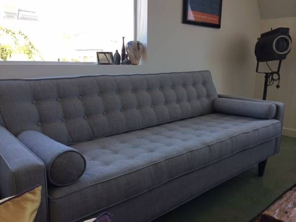 Mid Century Modern Silver Grey Tweed Sofa Couch 800 SOMA South