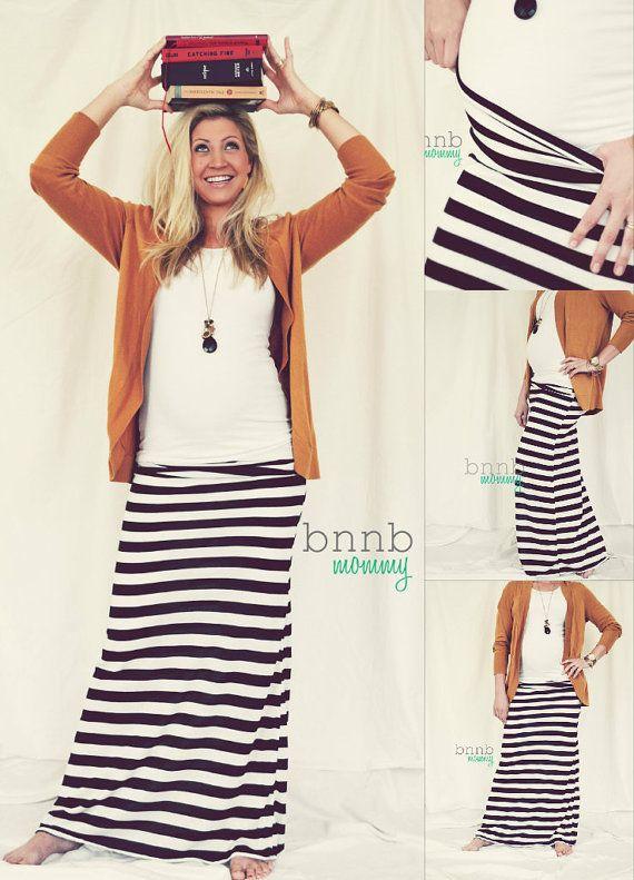 Chevron Maxi Skirt Maternity Maxi skirt Black by babynightnight, $30.00