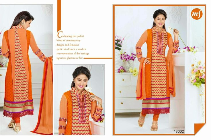 Exquisite  Straight cut Rafel Net and Georgette Semi- stitched suit with thread embroidery in Orange and Pink Combination. Comes along with Santoon bottom and Chiffon dupatta.
