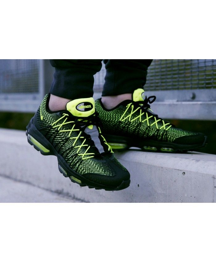 finest selection 34a58 cdb31 Nike Air Max 95 Ultra Jacquard Black Green Trainers