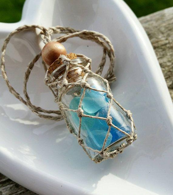 Teal Sea Glass hemp macrame rear view mirror charm, hemp, nautical, beach, boho