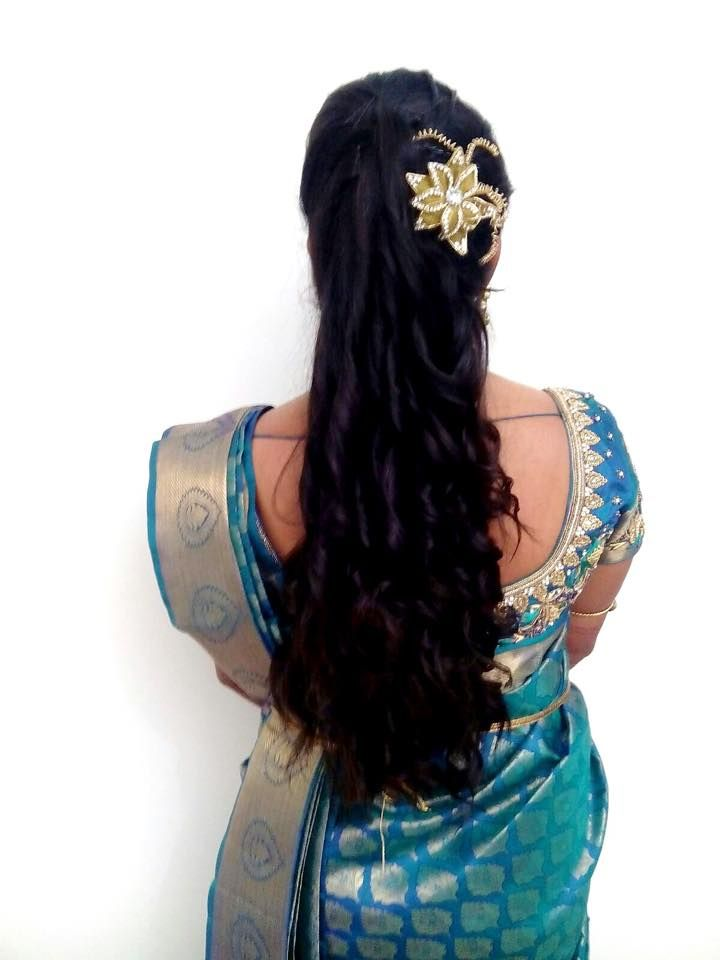 Indian bride's bridal reception hairstyle by Swank Studio. #Saree #Blouse…