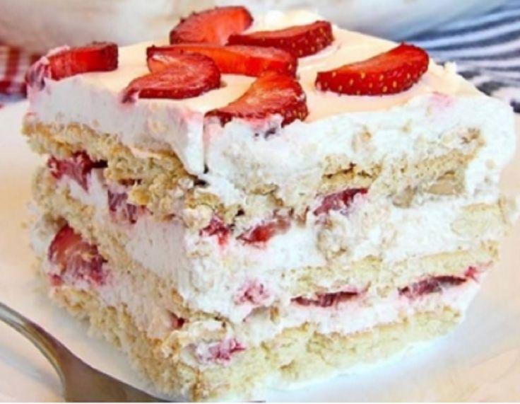 Recette : Gâteau frigidaireaux fraises sans cuisson.