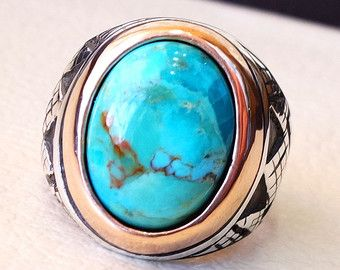 Arizona turquoise blauwe natuurlijke stenen ring sterling zilver 925 sieraden mannen alle maten semi precious gem hoogste kwaliteit Midden-Oosten stijl