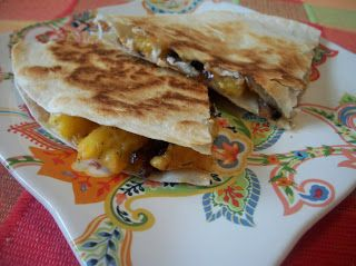Carmelized Peach and Brie Quesadillas