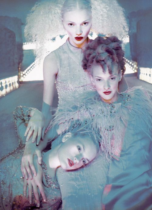 """Si, la couture m'était contée"". Jodie Kidd, Guinevere Van Seenus and Chrystelle Saint-Louis Augustin by David LaChapelle 