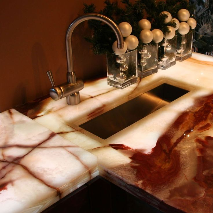 onyx countertops on ward log home with regard to Onyx countertops