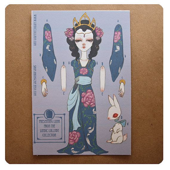 Jointed Moveable Paper Doll  Chinese Moon Goddess by inkingcap, $12.00