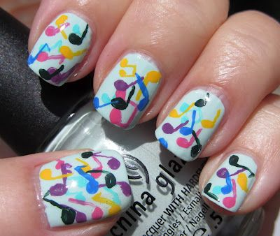 Music Notes. Paint nail one color, make dots, then draw lines from the dots.