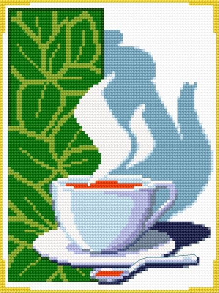 Tea time • Would be neat on a Mug Rug. Free Download pattern