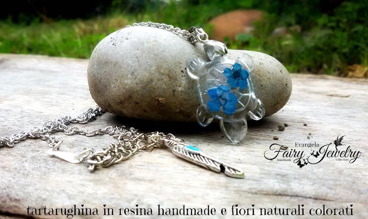 Collana tartaruga resina fiori naturali colorati blu , by Evangela Fairy Jewelry, 13,00 € su misshobby.com