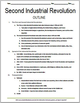 Second Industrial Revolution - Free Printable World History Outline for Grades 7-12