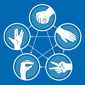 "Hee-hee-hee ""rock, paper,scissor, lizard, spock""  the kids & I get a laugh out of this version...got to get the shirt for them!"