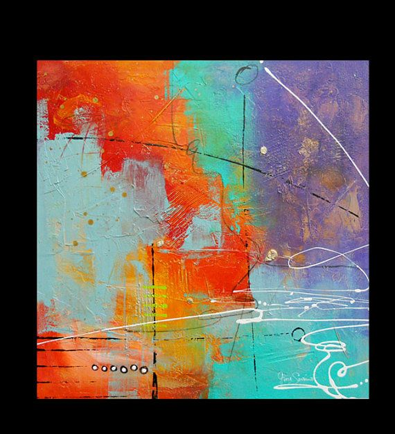 Items similar to colorful large original modern abstract painting contemporary fine art gallery canvas hand painted big by gino savarino on etsy