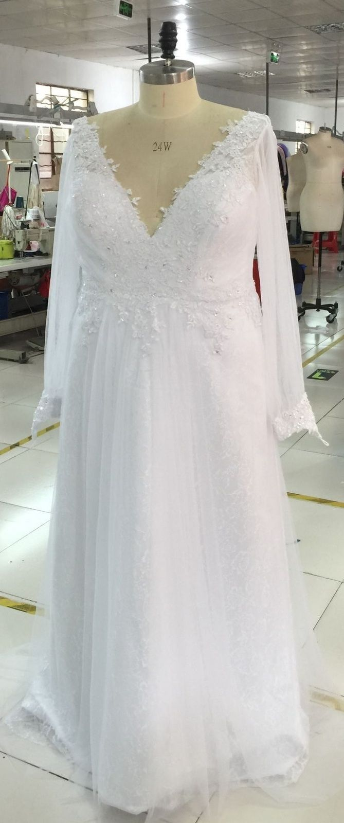 We make long sleeve plus size wedding dresses for all sizes.  This is one of our designs that was customized for a particular client.  We can produce custom #weddingdresses for you too.  Contact us for more info.