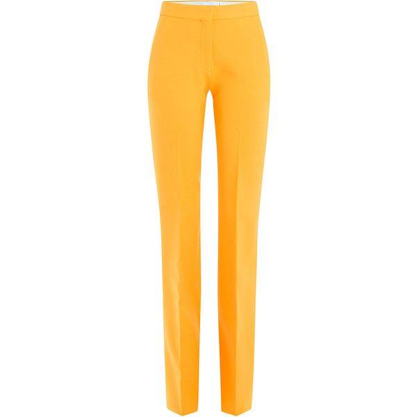 Victoria, Victoria Beckham Stretch Wool Pants ($430) ❤ liked on Polyvore featuring pants, bottoms, pantaloni, брюки, orange, tapered pants, slim pants, slim fit pants, yellow pants and tailored pants