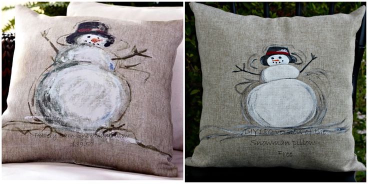 DIY180: Pottery Barn Inspired Snowman Pillow - Knock Off Holiday Tour   I'm such a sucker for snowmen...