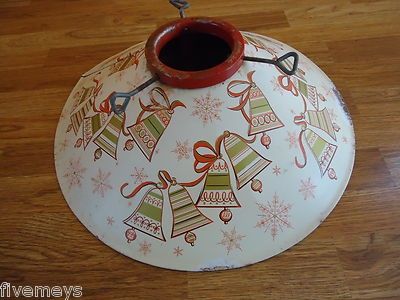 Vintage Christmas Tree Stand ~ Poloron Coloramic Metal Stand with Bells Design * Circa, 1950's