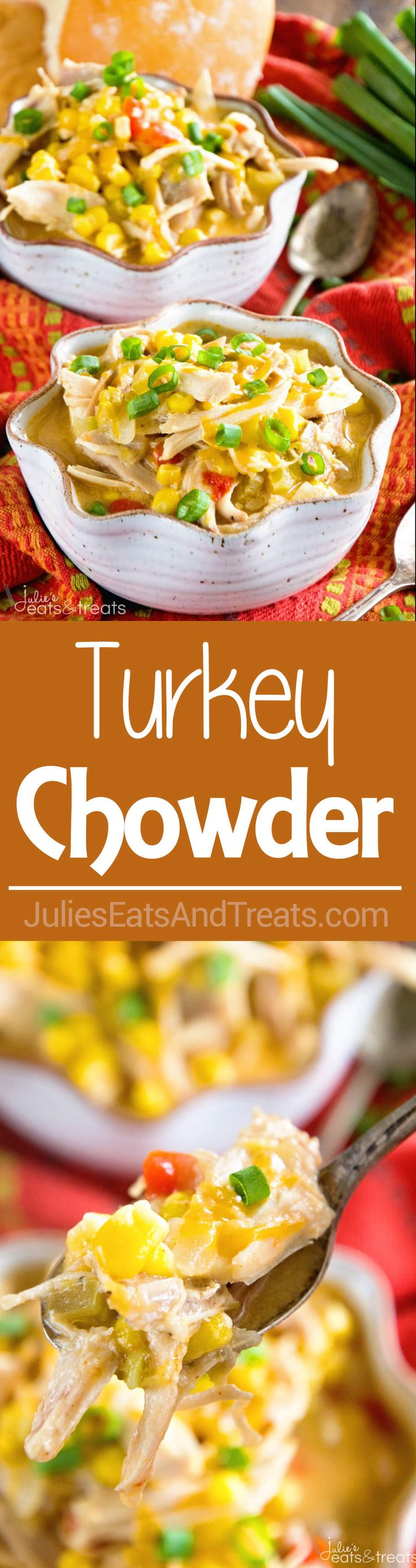 Turkey & Corn Chowder ~ Simple, Delicious, Hearty Chowder Perfect for Using up Leftover Turkey! Loaded with Roasted Bell Peppers, Green Chiles, Corn, Turkey and Cheese! ~ http://www.julieseatsandtreats.com