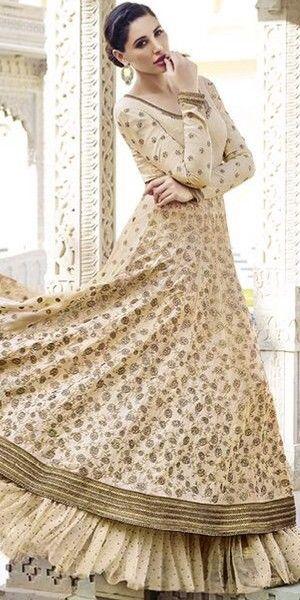 Cream Georgette And Net Designer Anarkali Suit With Chiffon Dupatta.
