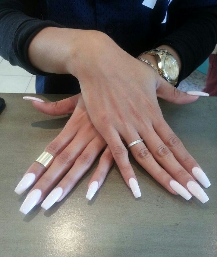 Squoval Silvers: White Square Tip Acrylic Nails