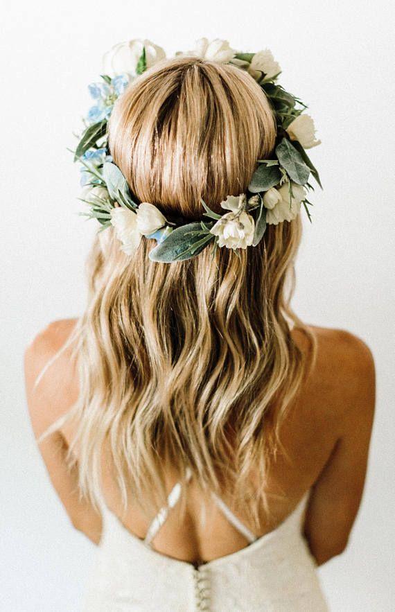 Wintery Ivory Flower Crown Wedding Flowers Brides Floral Women S Weddingi Wedding Hairstyles For Medium Hair Wedding Hair Flowers Flower Crown Hairstyle
