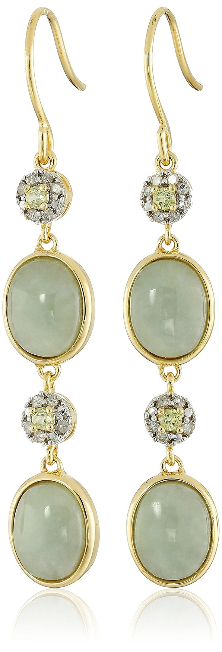 18k Yellow Gold Green Jade Peridot and Diamond Drop Earrings (1/10cttw, I-J Color, I2-I3 Clarity):