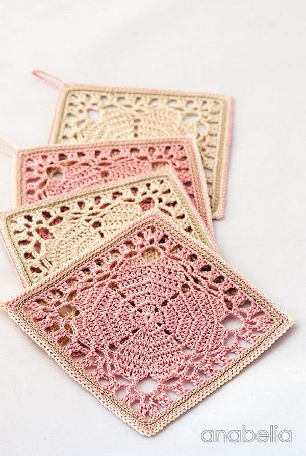 Japanese Square Crochet Coasters. Make a set of these square crochet coasters and add a homemade and delicate touch to your home decor. Get more directions