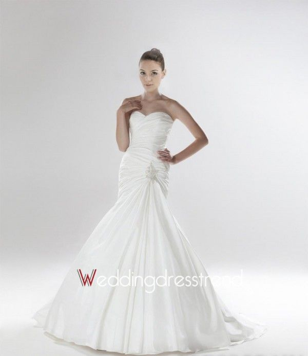 Best Glamorous Sweetheart Chapel Train Ruched Trumpet/Mermaid Wedding Dress - Beautiful Wedding Dresses Wholesale and Retail Online